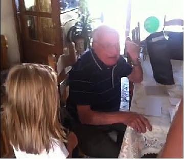 Grandpa gets a new companion